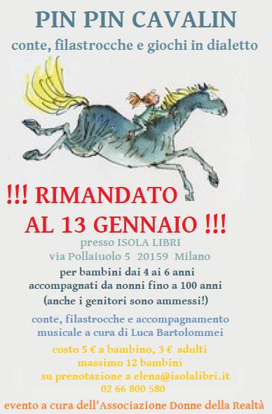 EVENTO RIMANDATO AL 13 GENNAIO!! Pin pin cavallin, conte filastrocche e giochi in dialetto